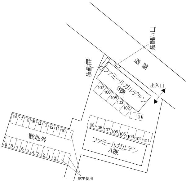 ファミールガルテン 敷地外駐車場(水戸市)